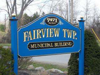 """Wooden sign """" Fairview Township Municipal Bldg"""""""